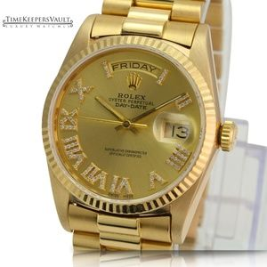 Rolex Mens Day-date 18038 Gold Diamond Dial 36mm